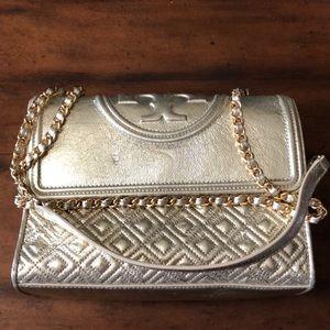 Metallic Tory Burch Leather Handbag